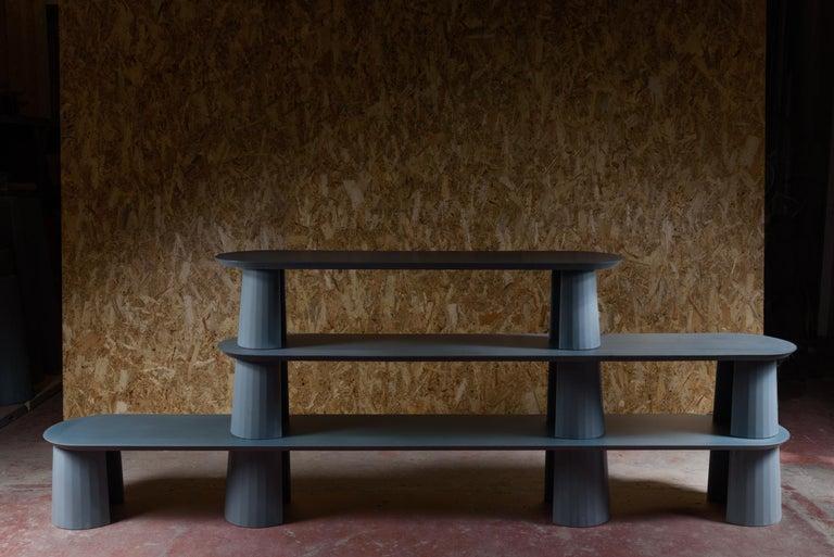Classical Roman 21st Century Studio Irvine Fusto Bookcase Mod.I Concrete Bookshelf Blue Cement For Sale