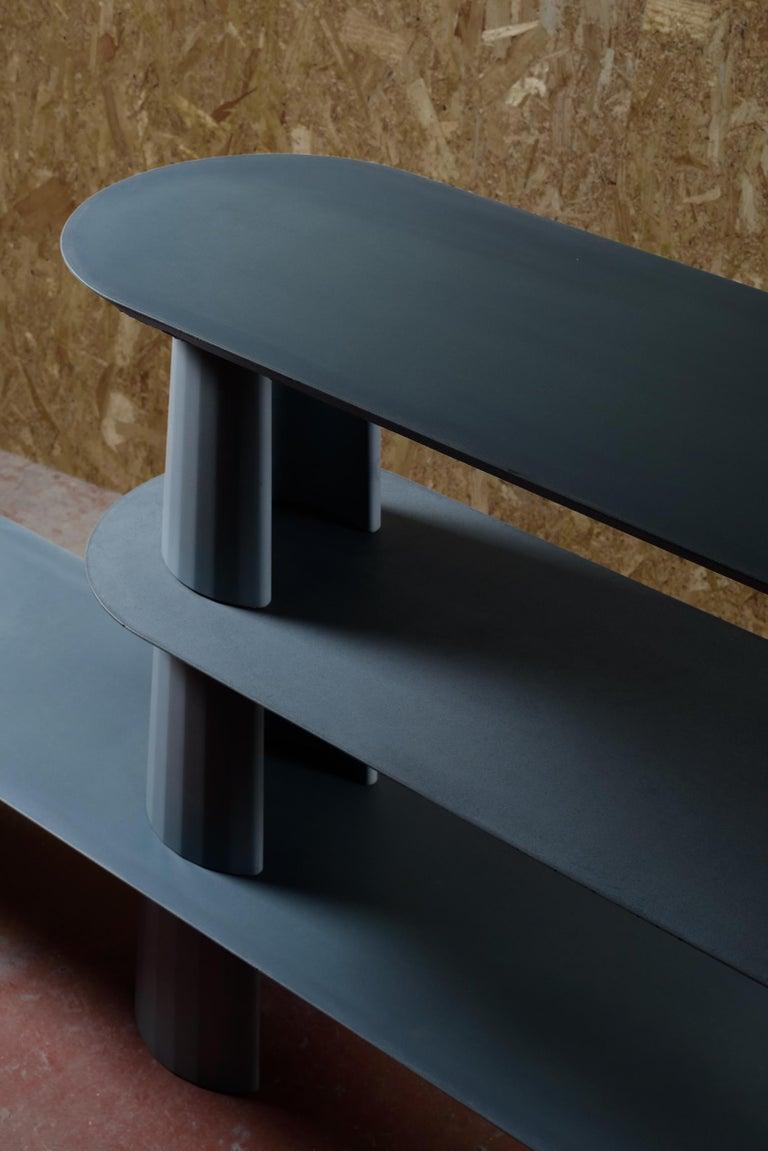 Italian 21st Century Studio Irvine Fusto Bookcase Mod.I Concrete Bookshelf Blue Cement For Sale