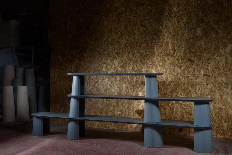 21st Century Studio Irvine Fusto Bookcase Mod.I Concrete Bookshelf Blue Cement In New Condition For Sale In Rome, Lazio
