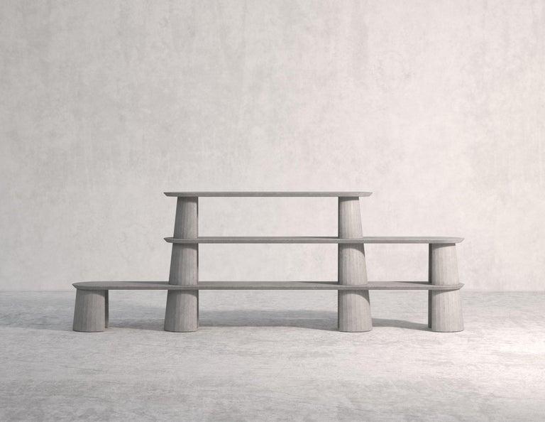 21st Century Studio Irvine Fusto Bookcase Mod.I Concrete Bookshelf Blue Cement For Sale 6