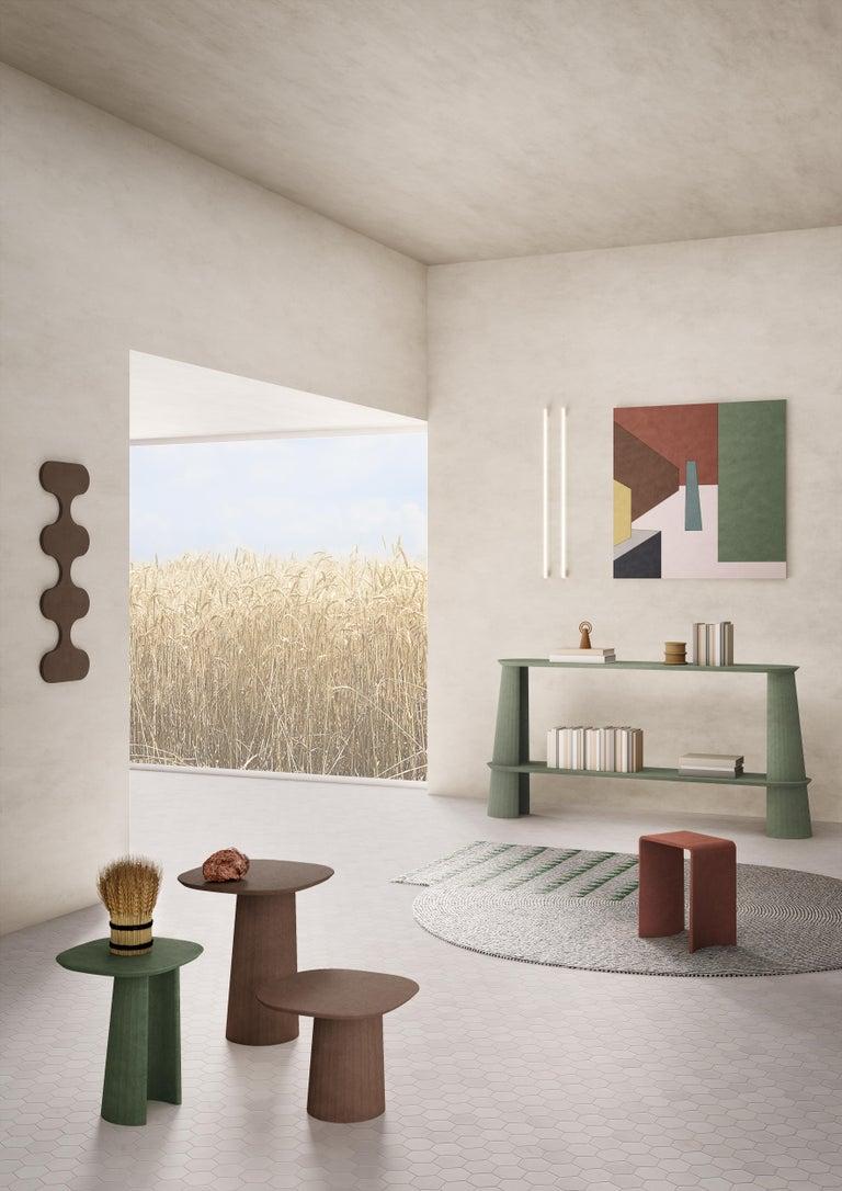 Italian 21st Century Studio Irvine Fusto Side Console Table Concrete Cement Brick Red For Sale