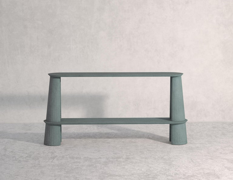 21st Century Studio Irvine Fusto Side Console Table Concrete Cement Brick Red For Sale 2