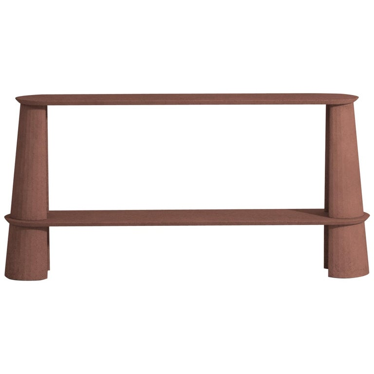 21st Century Studio Irvine Fusto Side Console Table Concrete Cement Brick Red For Sale