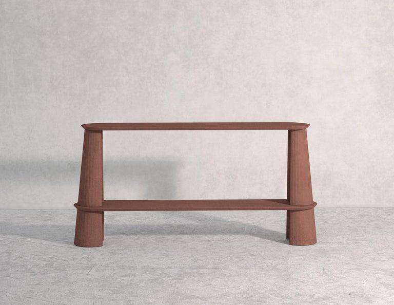 Italian 21st Century Studio Irvine Fusto Side Console Table Concrete Cement Brown Color For Sale