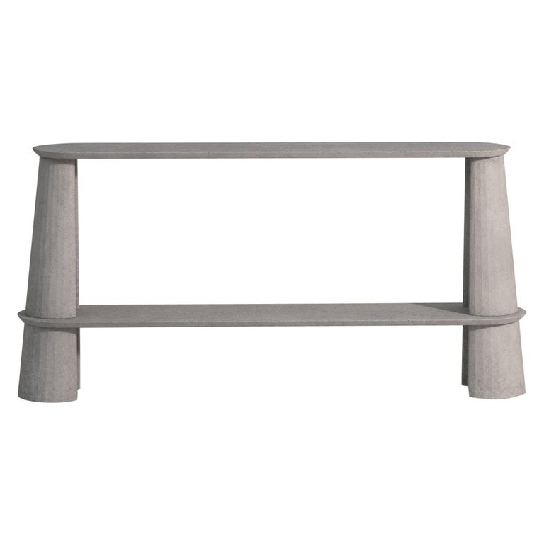 Molded 21st Century Studio Irvine Fusto Side Console Table Concrete Cement Brown Color For Sale