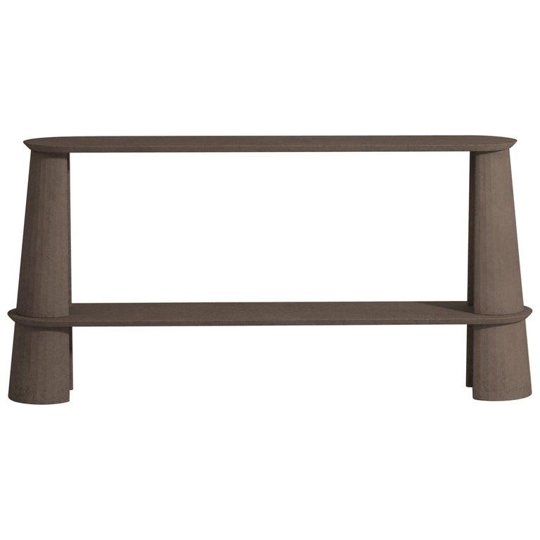 21st Century Studio Irvine Fusto Side Console Table Concrete Cement Brown Color For Sale