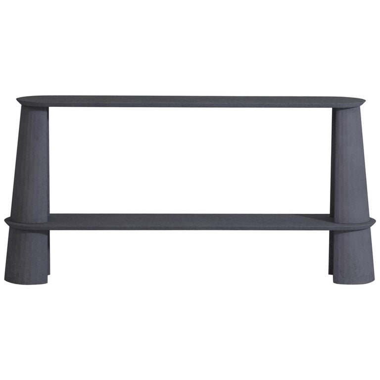 21st Century Studio Irvine Fusto Side Console Table Concrete Cement Ink Grey For Sale