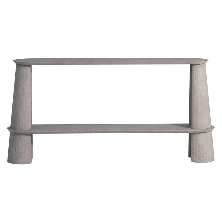 Classical Roman 21st Century Studio Irvine Fusto Side Console Table Concrete Cement Ultramarine For Sale