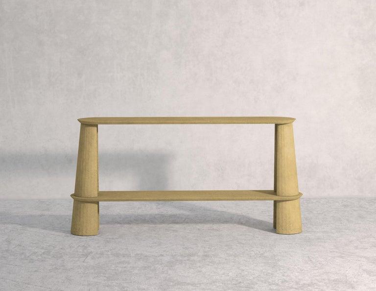 Contemporary 21st Century Studio Irvine Fusto Side Console Table Concrete Cement Ultramarine For Sale
