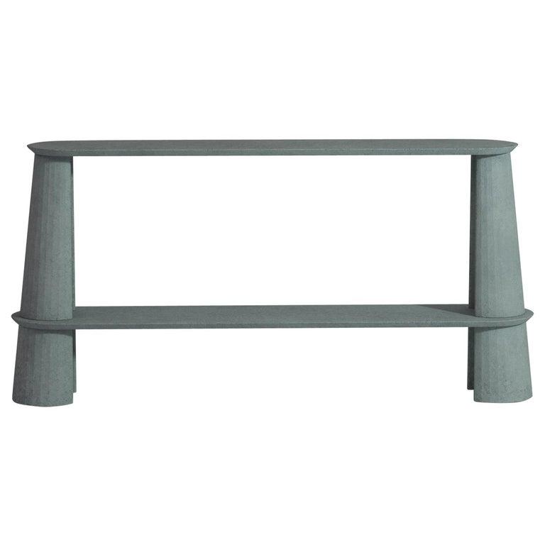 21st Century Studio Irvine Fusto Side Console Table Concrete Cement Ultramarine For Sale