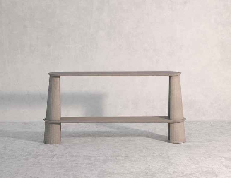 21st Century Studio Irvine Fusto Side Console Table Concrete Cement Yellow Cream For Sale 2