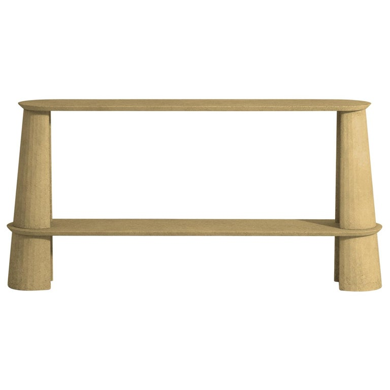21st Century Studio Irvine Fusto Side Console Table Concrete Cement Yellow Cream For Sale