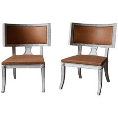 21st Century Sulla Chairs Gustavian Style with Brown Leather