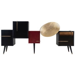 21st Century Sunshine Sideboard Lacquered Black Bordeaux Gilding Brass