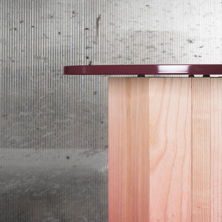 Italian 21st Century Swallow, Pink Shaded Coffee Table Lacquered Wood Glass Top For Sale