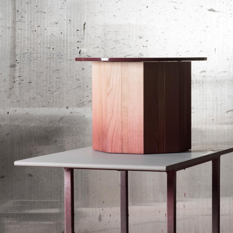 21st Century Swallow, Pink Shaded Coffee Table Lacquered Wood Glass Top In New Condition For Sale In PERTICATO, IT