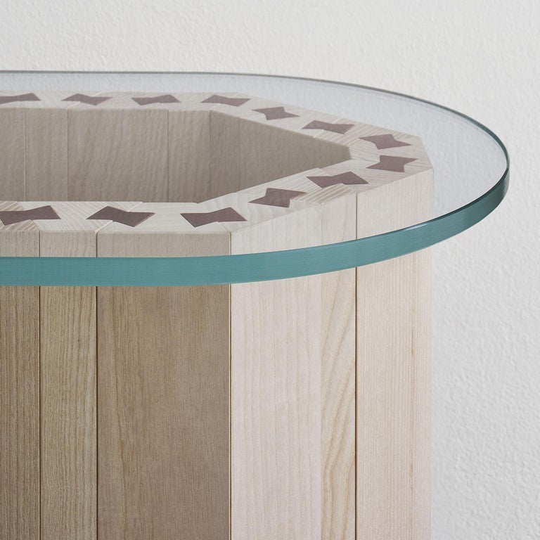 21st Century Swallow, Pink Shaded Coffee Table Lacquered Wood Glass Top For Sale 1