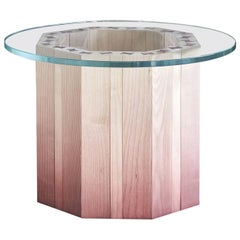 21st Century Swallow, Pink Shaded Coffee Table Lacquered Wood Glass Top