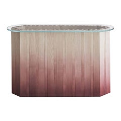 21st Century Swallow, Pink Shaded Console Table Lacquered Wood Glass Top
