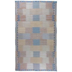 21st Century Swedish Design Blue, Beige and Cream Flat-Weave Wool Rug