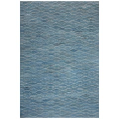 21st Century Swedish Design Blue Hand Knotted Wool Rug