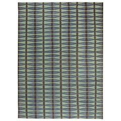 21st Century Swedish Design Green, Blue & Black Flat-Weave Wool Rug
