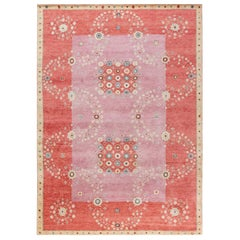 21st Century Swedish Design Red, Pink and Beige Wool Rug