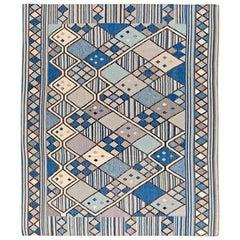 21st Century Swedish Inspired Geometric Blue, White and Gray Handmade Wool Rug