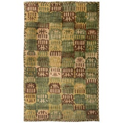 21st Century Swedish Inspired Rug in Brown, Green, Yellow and Beige