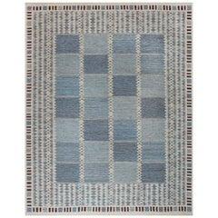 21st Century Swedish Style Blue and White Wool Flat-Weave Rug
