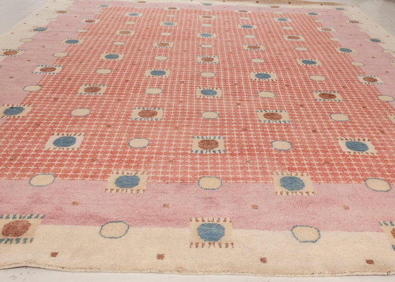 Hand-Knotted 21st Century Swedish Style Pile Rug in Beige, Blue, Brown, Pink, Purple For Sale