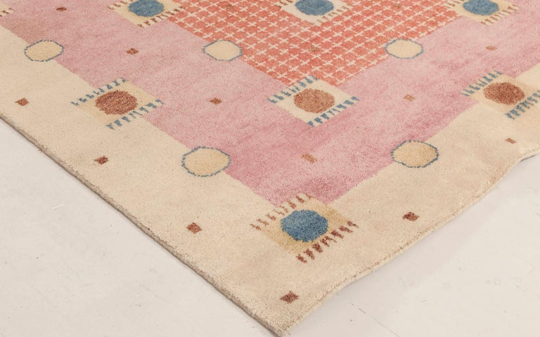21st Century Swedish Style Pile Rug in Beige, Blue, Brown, Pink, Purple In New Condition For Sale In New York, NY
