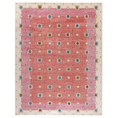 21st Century Swedish Style Pile Rug in Beige, Blue, Brown, Pink, Purple