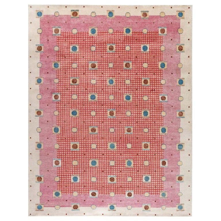 21st Century Swedish Style Pile Rug in Beige, Blue, Brown, Pink, Purple For Sale