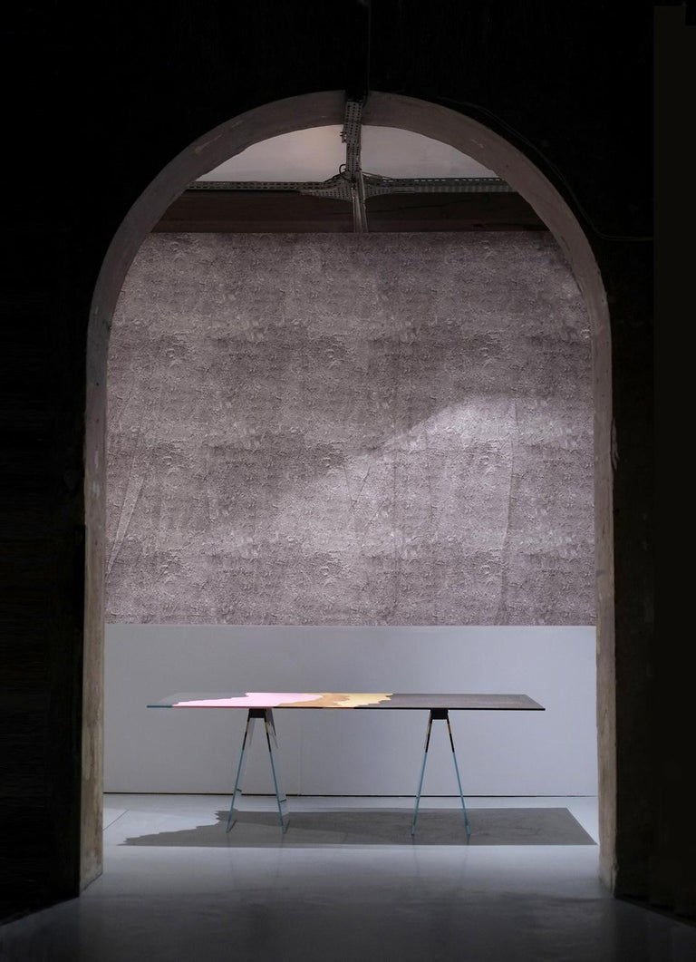 Italian 21st Century Table de Milàn Table in Ultra-White Glass and Laminates For Sale