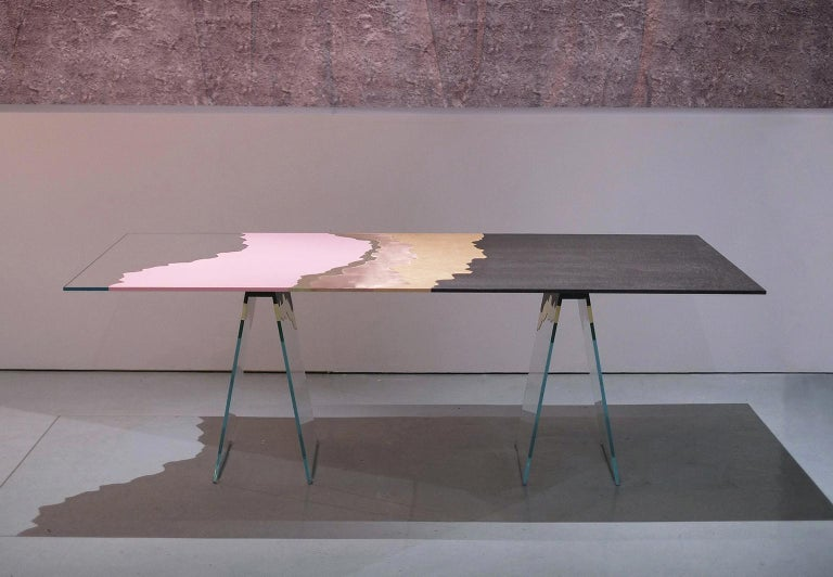 21st Century Table de Milàn Table in Ultra-White Glass and Laminates In New Condition For Sale In Milan, IT