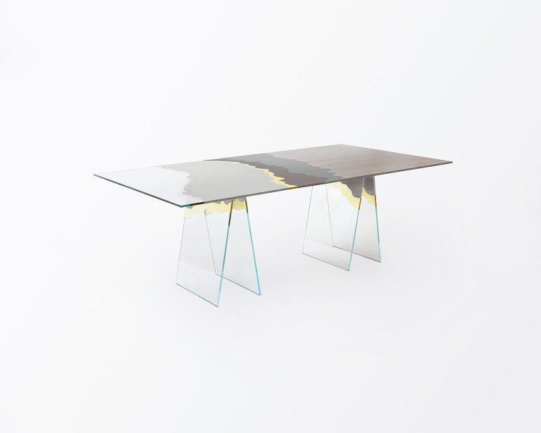 21st Century Table de Milàn Table in Ultra-White Glass and Laminates For Sale 1