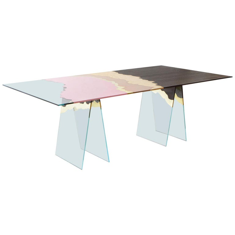 21st Century Table de Milàn Table in Ultra-White Glass and Laminates For Sale