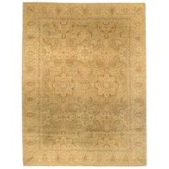 21st Century Tabriz Design Floral Beige Handmade Rug