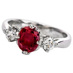 21st Century Tacori Ruby Diamond 3-Stone Platinum Ring