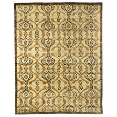 Doris Leslie Blau Collection Taj Beige and Brown Handmade Wool Rug