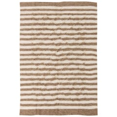 21st Century Taurus Collection Goat Hair Rug in White and Brown Stripes