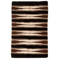 21st Century Taurus Collection Rug in Shades of Brown, White and Black Stripes