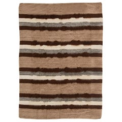 21st Century Taurus Collection Rug in Shades of Brown, White and Grey Stripes