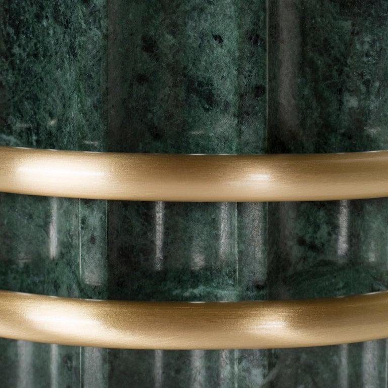 Decorative vase sculpted in polished Green Guatemala marble with two rings in brushed brass high-gloss finish.  Marble Tavares decorative vase  Made in Portugal.