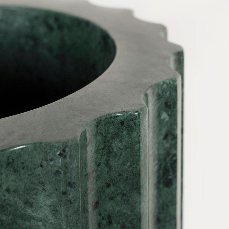 Modern Tavares Decorative Vase Sculpted Polished Guatemala Green Marble Brushed Brass For Sale