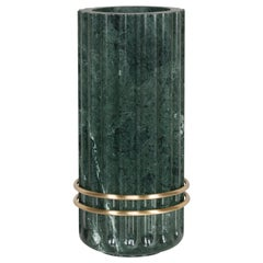 Tavares Decorative Vase Sculpted Polished Guatemala Green Marble Brushed Brass
