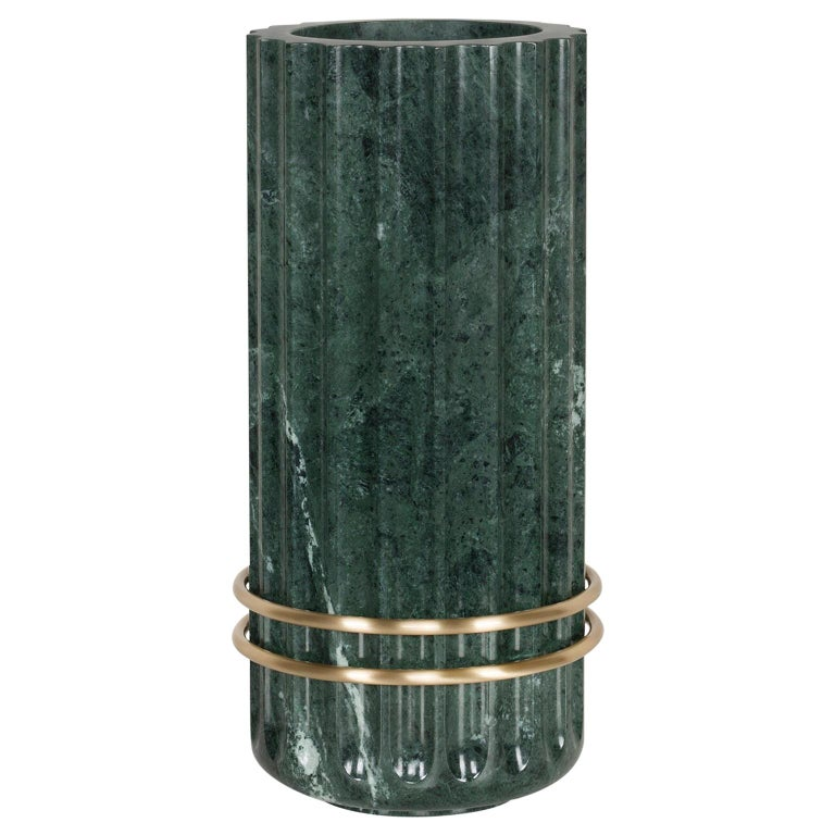 Tavares Decorative Vase Sculpted Polished Guatemala Green Marble Brushed Brass For Sale