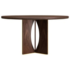 21st Century Taylor Round Dining Table Walnut Wood