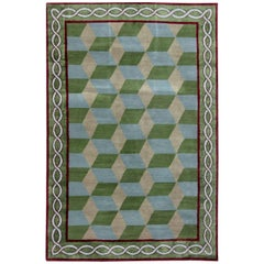 21st Century Tibetan Green, Blue & Burgundy Handmade Wool Rug by Sheila Bridges